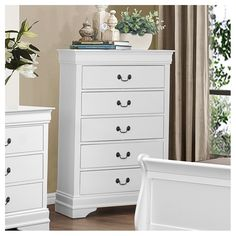 Waynesburg 5 Drawer Chest by Alcott Hill White Chest Of Drawers, White Chests, 5 Drawer Chest, Dresser With Mirror, Dresser As Nightstand, Bedroom Dressers, Bedside, Bedroom Furniture, Wood Chest