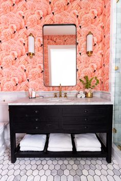 Get inspired with bathroom tile designs and 2019 trends. View our image gallery to get ideas for bathroom floors, walls, tubs, and shower stalls. Find professional tips on designing for small spaces and picking tile colors. Pink Bathroom Tiles, Pink Tiles, Bathroom Tile Designs, Small Bathroom, Bathrooms, Bathroom Ideas, English Interior, The Tile Shop, Minimal Decor