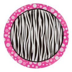 "Zebra Dots Paper Plates, 7"", 20-ct. Pack"