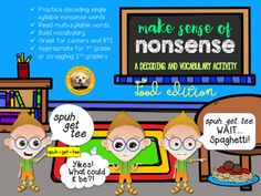 Decoding nonsense words is a skill that every student needs to practice. But practicing the same old flash cards can get boring. This activity aims to make decoding nonsense words fun and functional! Students get to read multi-syllable words that they already know, but can't read.