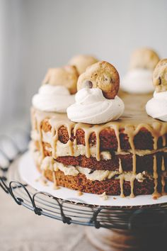 Cookie cake with chocolate chip filling, salted caramel icing, and brown-sugar buttercream dollops