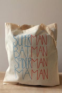 "Sac en coton couleur naturelle avec des grandes lanières - 38x42cm inscription ""superman, batman, spiderman, maman"" Possibilité de personnalisation (motif, couleur, inscription) - 13945903"
