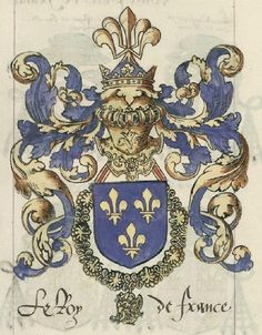 Le roi de France - the King of France. Medieval, Etiquette Vintage, Legends And Myths, French History, Family Crest, Crests, Fabric Paper, Coat Of Arms, European History