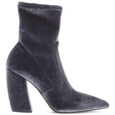 Prada Velvet Ankle Boots ($985) ❤ liked on Polyvore featuring shoes, boots, ankle booties, grey boots, gray bootie, short grey boots, gray short boots and velvet boots