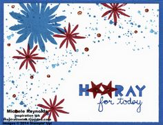 Handmade 4th of July card by Michele Reynolds, Inspiration Ink, using Stampin' Up! products - Flower Patch Photopolymer Set, Geometrical Set, Gorgeous Grunge Set, Itty Bitty Accents Punch Pack, and Dazzling Details.