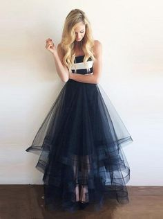 Tulle Prom Dresses,Modest Prom Gown,Long Evening Dress,A Line