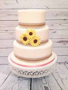 Rustic lace and sunflowers Cake by Amy Hart