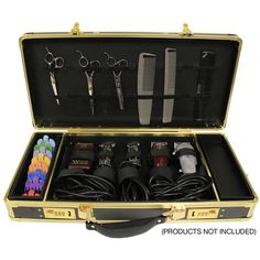Hairart Black & Gold Barber Case is elegant and sturdy. Great for keeping your barber tools organized and in one place. Barber Equipment, Salon Equipment, Barber Accessories, Mobile Barber, Outdoor Fotografie, Hairdressing Supplies, Barber School, Barber Apron, Barber Supplies