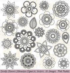 Doodle bloemen silhouetten Clipart illustraties door PinkPueblo