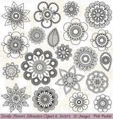Doodle Blumen Silhouetten Clipart ClipArt Doodle von PinkPueblo
