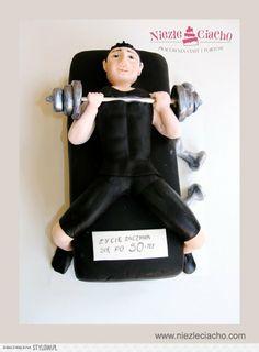 Siłowania, siłka, sztanga, facet na siłowni, tort urodzinowy, torty dla dorosłych, torty dedykowane, torty dla pasjonatów, Tarnów