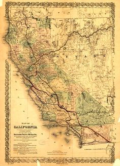Historic Map Collection -- Map of California as to the rights of the Southern Pacific R.R. Co., 1876 http://bit.ly/gumapcali2