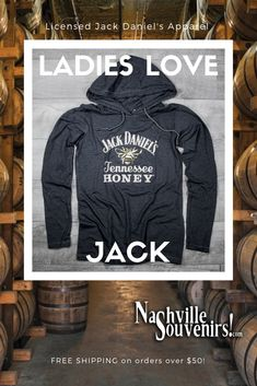 b2167674 This officially licensed ladies Jack Daniels Tennessee Honey Hoodie in a  charcoal gray with the Jack