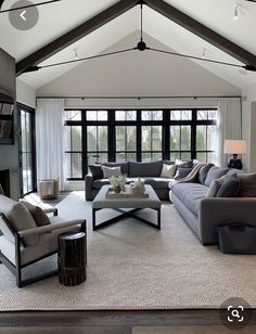 Cozy Grey Living Room, Living Room Interior, Home Living Room, Dark Floor Living Room, Living Room Decor High Ceilings, Living Room With Windows, High Ceiling Living Room Modern, Room And Board Living Room, Wall Of Windows