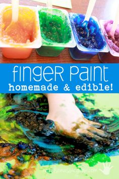 Finger painting for toddlers is a great sensory activity, along with a great beginning art activity for them.