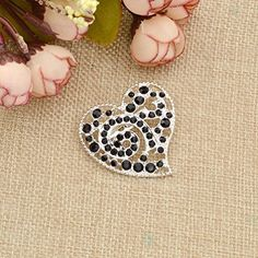 Amazon.com: Rhinestone Brooch Pin Ribbon Heart Swirl Alloy Crystal Clip Lapel Pins Breastpin 1 Pc: Jewelry