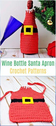 Crochet Wine Bottle Santa Apron Paid Pattern - Crochet Santa Clause Patterns