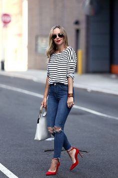 Fall Style: Striped Tee, High Waisted Denim and Red Aquazzura Shoes   Helena from Brooklyn Blonde