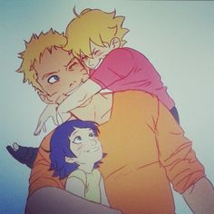 Naruto, Bolt and Himawari by http://instagram.com/johannathemad