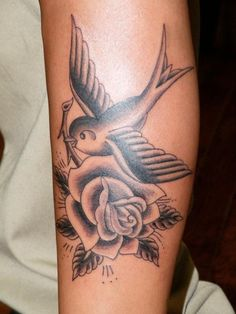 swallow and rose tattoo - Google Search
