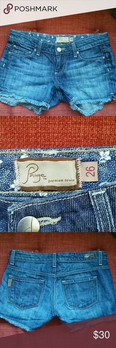 Paige Premium Denim Cut Off Jean Shorts Gently loved run a little small Paige Jeans Shorts Jean Shorts