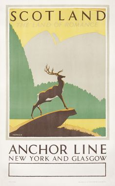 Scotland - The Land of Romance - Anchor Line New York and Glasgow by Herrick, Frederic Charles | Shop original vintage #posters online: www.internationalposter.com #scotland