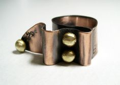 Ribbon .Handmade ring copper adjustable ring steampunk ring metalwork brass granules gold beads industrial style ring.Free shipping