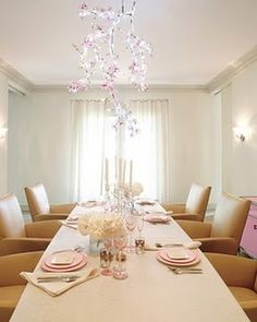 dining rooms, gwyneth paltrow, dine room, light fixtures, hamptons house, crystal palace, swarovski crystals, dining tables, cherry blossoms