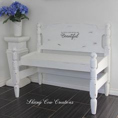 Another cute bench my brother crafted, and I painted with Annie Sloan pure white $275 Can or $210 US