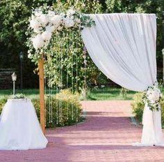Curtain Backdrop Wedding, Ceremony Arch, Wedding Ceremony Decorations, Wedding Centerpieces, Decor Wedding, Wedding Backdrops, Outdoor Ceremony, Wedding Ceremonies, Outdoor Stage