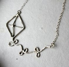 Ready To Ship- Go Fly a Kite- Handmade Sterling Silver Necklace by luckyduct $88.00