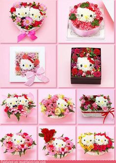 Hello kitty flowers. I havent ever done flower arrangements, but would love to try this sometime!