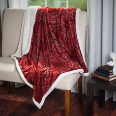 Somerset Home Printed Coral Soft Fleece Sherpa Throw Blanket, Red