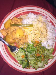 Flounder fish. White rice and veggies