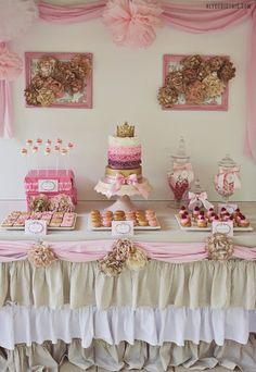 shabby chic princess party Next year bday party for tess Princess Birthday, Princess Party, Girl Birthday, Pink Princess, Vintage Princess, Princess Wedding, Birthday Crowns, Princess Cakes, Princess Sophia