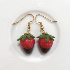 Chocolate Dipped Strawberry Earrings Food Jewellery