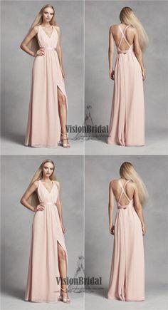 Pearl Pink V-Neck Crisscross Back Side Slit Chiffon Bridesmaid Dress, Bridesmaid Dress, VB0454 #bridesmaids #bridesmaiddresses