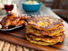 Plantain Pancakes (savory-sweet side dish) recipe from Guy Fieri via Food Network Pork Carnitas Recipe, Banana Da Terra Frita, Chefs, Plantain Pancakes, Plantain Recipes, Banana Plantain Recipe, Banana Recipes, Banane Plantain, Antipasto