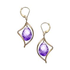 Amethyst Twisted Drop Earrings ($325) ❤ liked on Polyvore featuring jewelry, earrings, fine jewelryearrings, 14k jewelry, 14 karat gold earrings, 14 karat gold jewelry, twist earrings and drop earrings