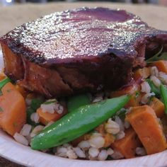 Try this BBQ Whisky Pork Cutlets with Sweet Potato and Barley Salad recipe by Chef Paul West . This recipe is from the show River Cottage Australia.