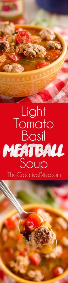 Light Tomato Basil Meatball Soup is a hearty and healthy dinner filled with lean meatballs and fresh tomatoes and basil and will leave you feeling warmed up and satisfied!