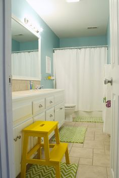 Kids bathroom redo LOVE THE YELLOW PAINTED STOOL FROM IKEA