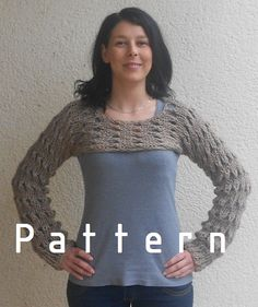 Knitting Pattern for the Browny cropped sweater shrug /Stoney /loose knit $6.00 USD