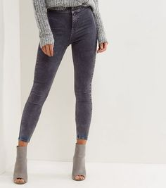 Grey Acid Washed High Waist Skinny Hallie Jeans