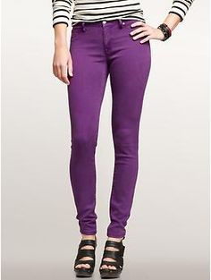 If you are average height these 1969 mid-weight legging jeans from the GAP are amazing!  Come on Gap make them longer!  You can rock these purple jeans with anything!  I'm seeing a Crazy cute yellow top!