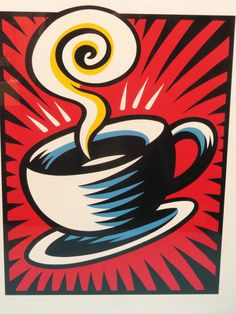 Coffee Cup Red 1998 by Burton Morris Art Lessons, Lovers Art, Serigraph, University Art, Abstract Artwork, Sculpture Painting, Lithograph, Burton Morris, Burton