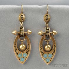 Antique 14kt Gold and Enamel Earpendants, each with blue and white enamel flowers and black enamel accents, lg. 2 3/8 in. Victorian or Victorian style.