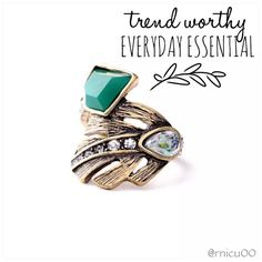 """Vintage Gold Leaf Crystal Pavé Wrap Ring! Fun, Fashionable Boho Style! Vintage Gold Leaf Design Band, with a Natural Green Crystal & shiny Pavé Crystals!  • Green Stone Diameter ~1.10"""" • Lead & Nickel Free  ➖Prices Firm, Bundle for 20% Discount ➖""""Trade"""" & Lowball Offers will be ignored ➖Sales are Final, Please read Description & Ask Any Questions! Boutique Jewelry Rings"""