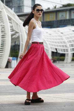 Romantic Maxi Skirt Long Linen Skirt In Rose Red - NC456