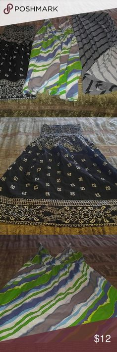 3 pc Bundle Maxi Tea Length Tube Top GUC What a cute bundle! This consists of a grey maxi skirt (m) but worn when I was a size 16w, Old Navy tea length dress XL with VERY sexy deep V cuts in front and back, and tribal printed tube top sundress that has tons of stretch and can also be used as a skirt OSFM. These are all in GUC and are ready for you to take them home! Skirts